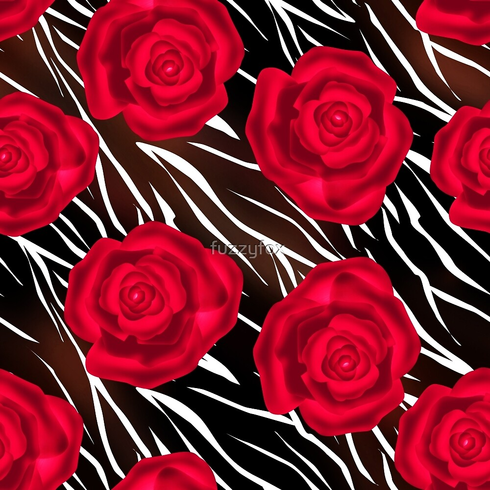 Red roses on tiger background . Abstract creative pattern.  by fuzzyfox