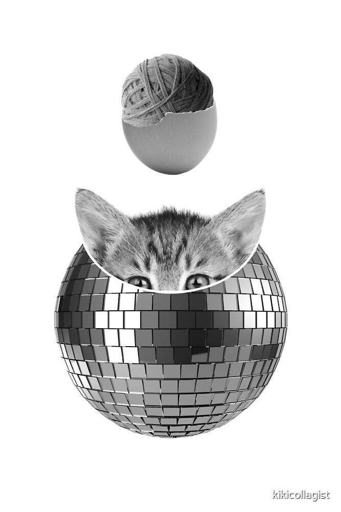 Disco kitty by kikicollagist