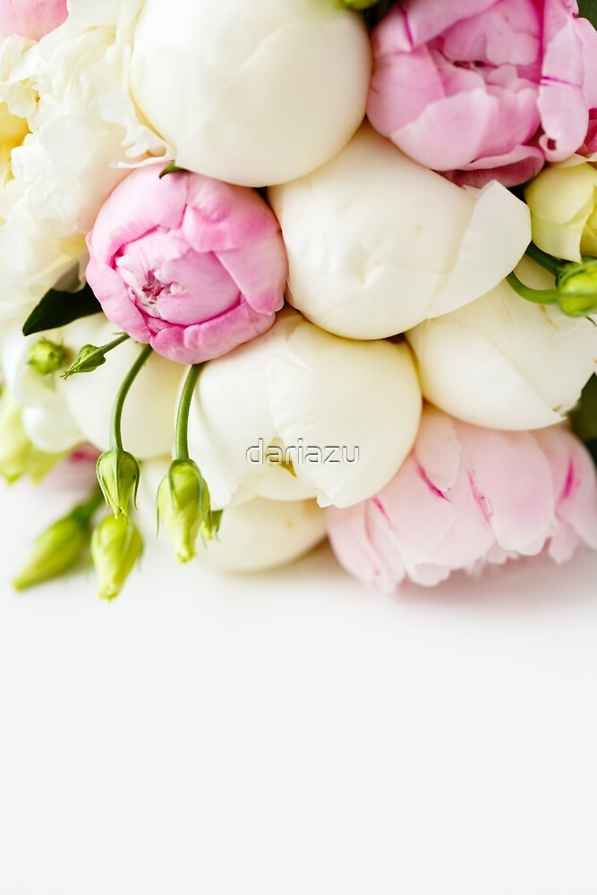 Wedding bouquet of ranunculus and peony flowers on white  by dariazu