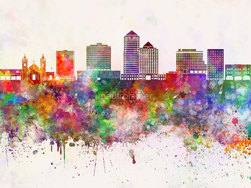 Albuquerque V2 skyline in watercolor background by paulrommer