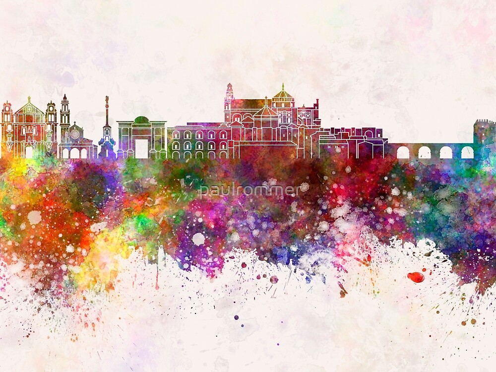 Cordoba skyline in watercolor background  by paulrommer