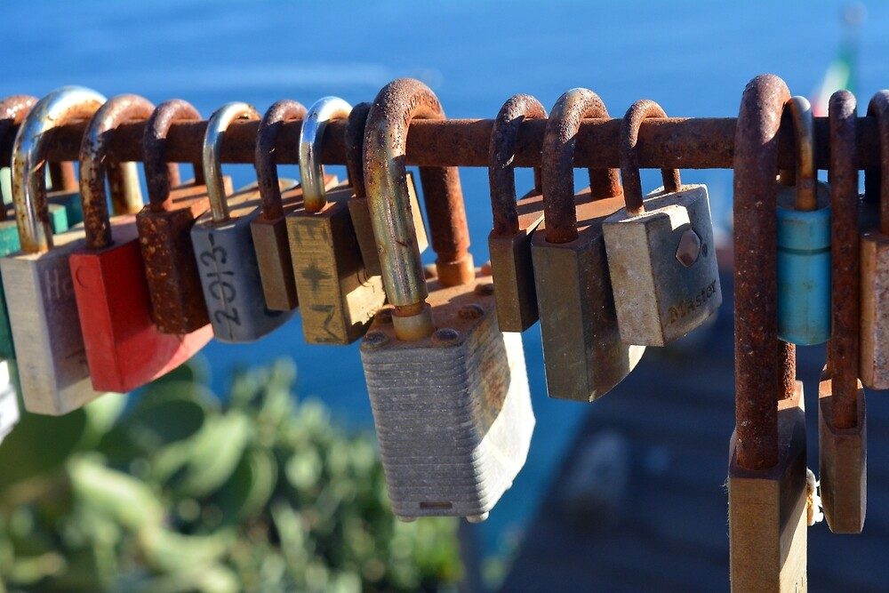 7 August 2016 Photography of many locks on a fence in Vernazza, Italy by oanaunciuleanu