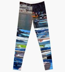7 August 2016. Photography of boats in the water in Vernazza, Utaly Leggings