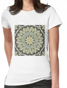 Mandala Leaves In Pale Blue, Green and Ochra T-Shirt