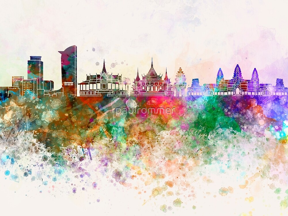 Phnom Penh skyline in watercolor background by paulrommer