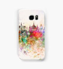 Phnom Penh skyline in watercolor background Samsung Galaxy Case/Skin