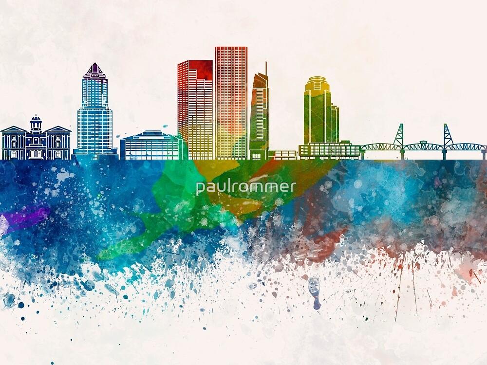Portland skyline in watercolor background by paulrommer