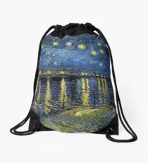 1888-Vincent van Gogh-Starry Night-72x92 Drawstring Bag