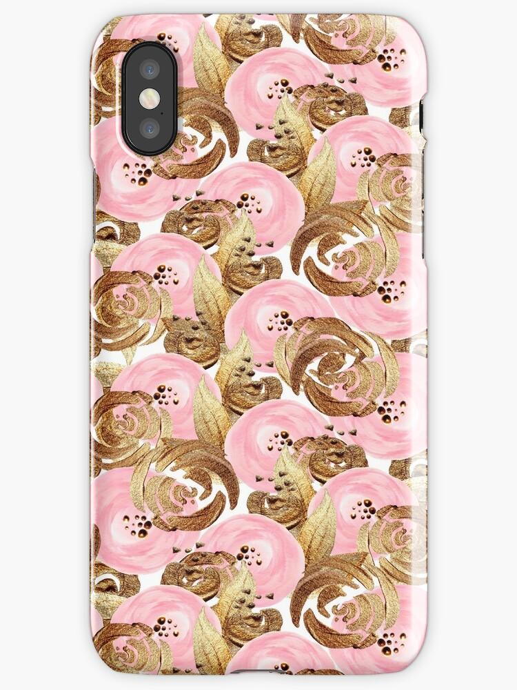 Romantisches Muster mit pinken und goldenen Blumen by stylebytara