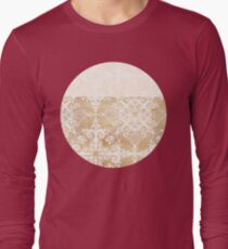 White Doodle Pattern on Sepia Ink Long Sleeve T-Shirt