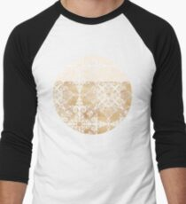 White Doodle Pattern on Sepia Ink Men's Baseball ¾ T-Shirt
