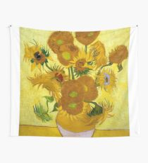 1889-Vincent van Gogh-Sunflowers-73x95 Wall Tapestry