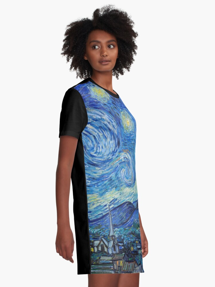 Alternate view of 1889-Vincent van Gogh-The Starry Night-73x92 Graphic T-Shirt Dress