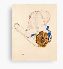 Egon Schiele - Nude with Blue Stockings, Bending Forward (1912)  Canvas Print