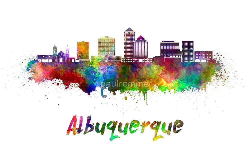 Albuquerque skyline in watercolor by paulrommer
