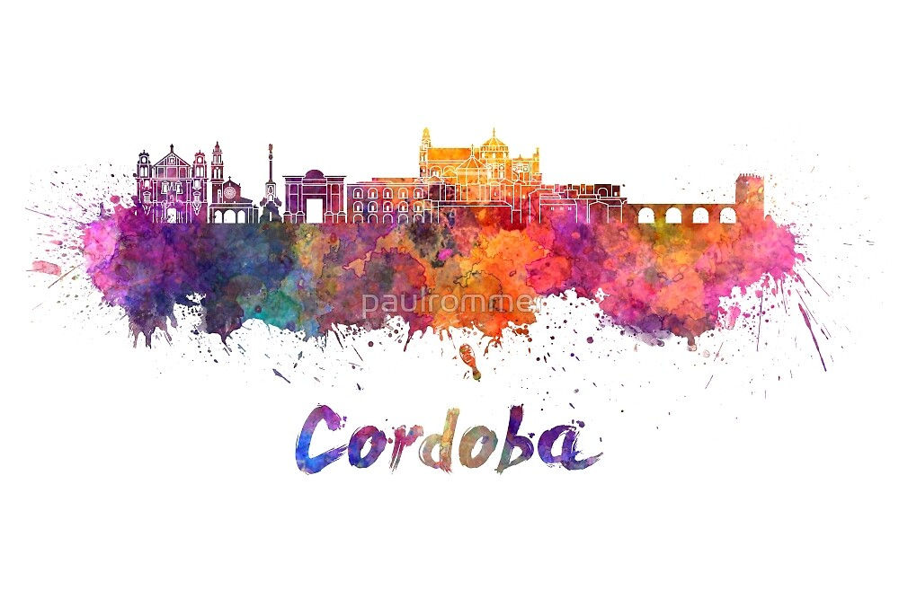Cordoba skyline in watercolor by paulrommer