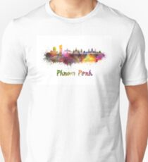 Phnom Penh skyline in watercolor Unisex T-Shirt