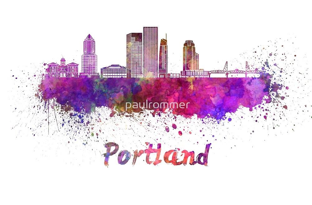 Portland V2 skyline in watercolor by paulrommer