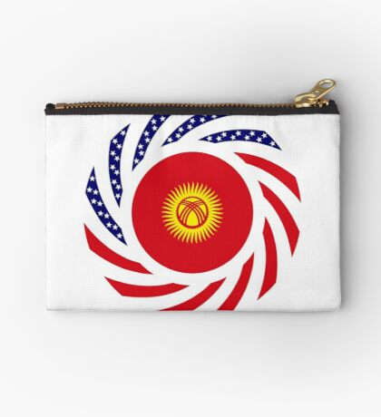 Kyrgyzstan American Multinational Patriot Flag Series Zipper Pouch