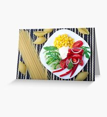 Top view of the vegetarian dish of raw vegetables and mozzarella  Greeting Card