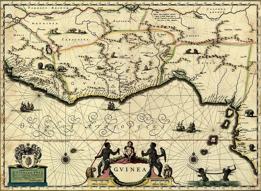 Map Of Guinea 1638 by mollyfare