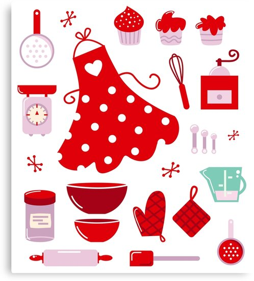 Retro set for baking or cooking : old vintage red by Bee and Glow Illustrations Shop