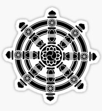 Dharma Wheel of Fortune, Buddhism, Auspicious Symbol Sticker