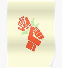 Sozialistische Faust, die eine Arbeitsrose hält Poster