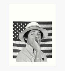 Lámina artística Joven Obama fumando con bandera estadounidense