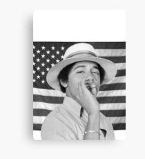 Lienzo Joven Obama fumando con bandera estadounidense