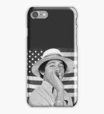 Young Obama smoking with American Flag iPhone Case/Skin