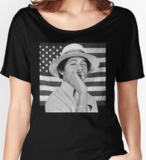 Young Obama smoking with American Flag Women's Relaxed Fit T-Shirt