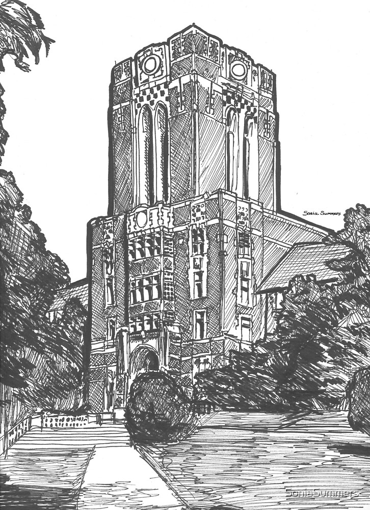 UT Ayers Hall Sketch by SoniaSummers