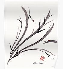 """My Dear Friend""  Original ink and wash ladybug bamboo painting/drawing Poster"
