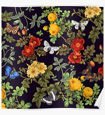 butterflies and floral pattern II Poster