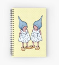 Gnome Twin Girls on Dotted Yellow Background, Spiral Notebook