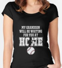 Baseball Catcher Products: My Grandson will be Waiting for You At Home Women's Fitted Scoop T-Shirt