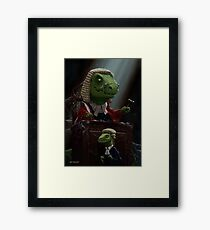 Dinosaur Judge in UK Court of Law Framed Print