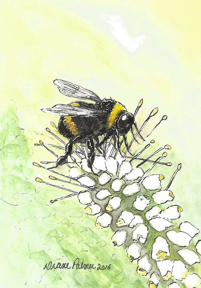 Happy Bumble Bee by DianePalmerArt