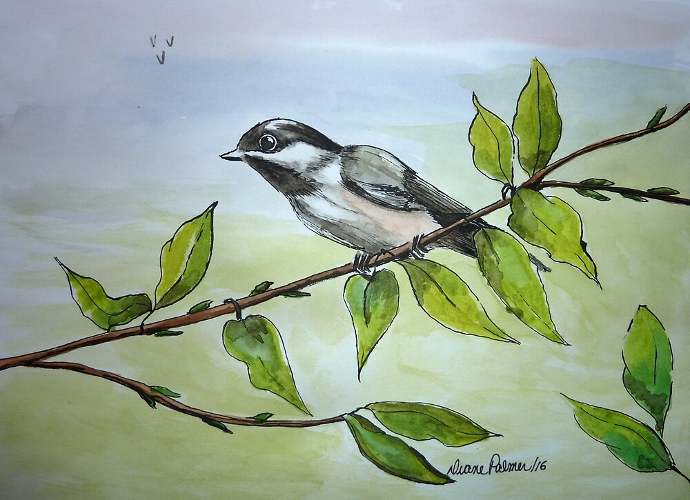 Happy Chickadee by DianePalmerArt