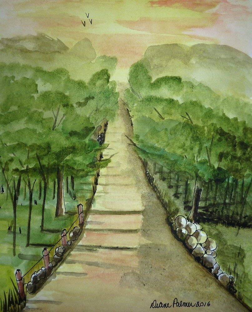 Peaceful Country Lane Watercolor by DianePalmerArt