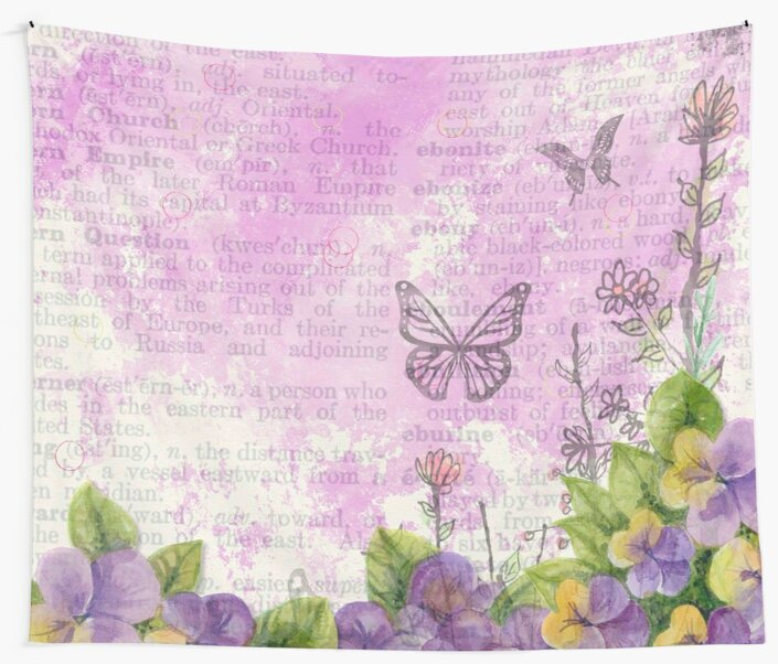 Shabby chic,collage of newspaper,floral design,butterflies,water color,mixed media by love999