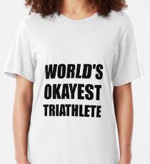 World's Okayest Triathlete Slim Fit T-Shirt