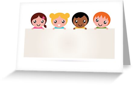 Multi ethnicity children holding a blank banner by Bee and Glow Illustrations Shop