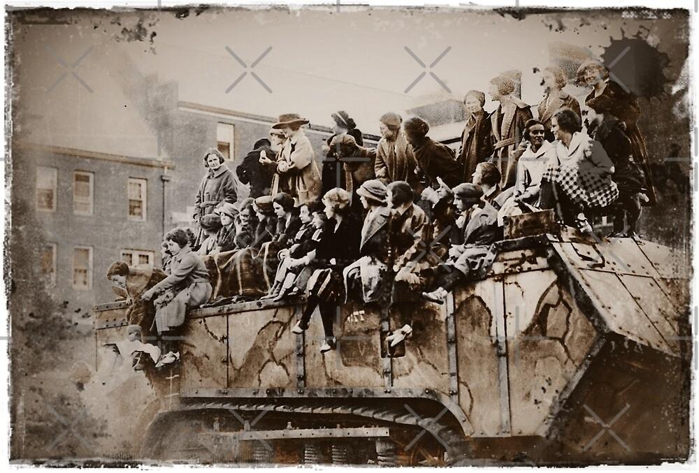 WWI Women on Tank by diane  addis