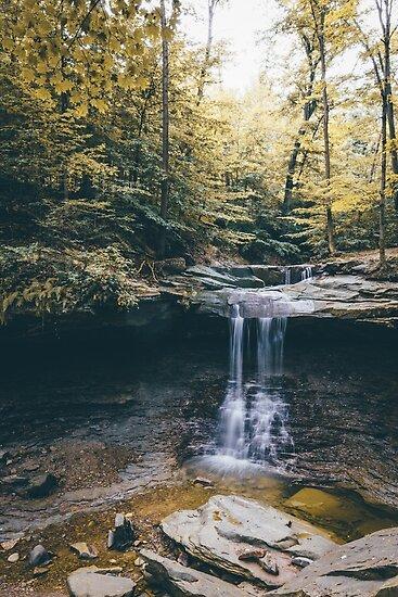 Early Fall Foliage - Blue Hen Falls Ohio by HoellerPhoto