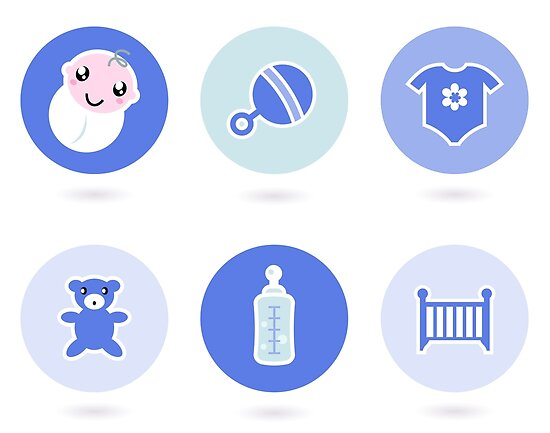 Baby boy blue icons collection by Bee and Glow Illustrations Shop