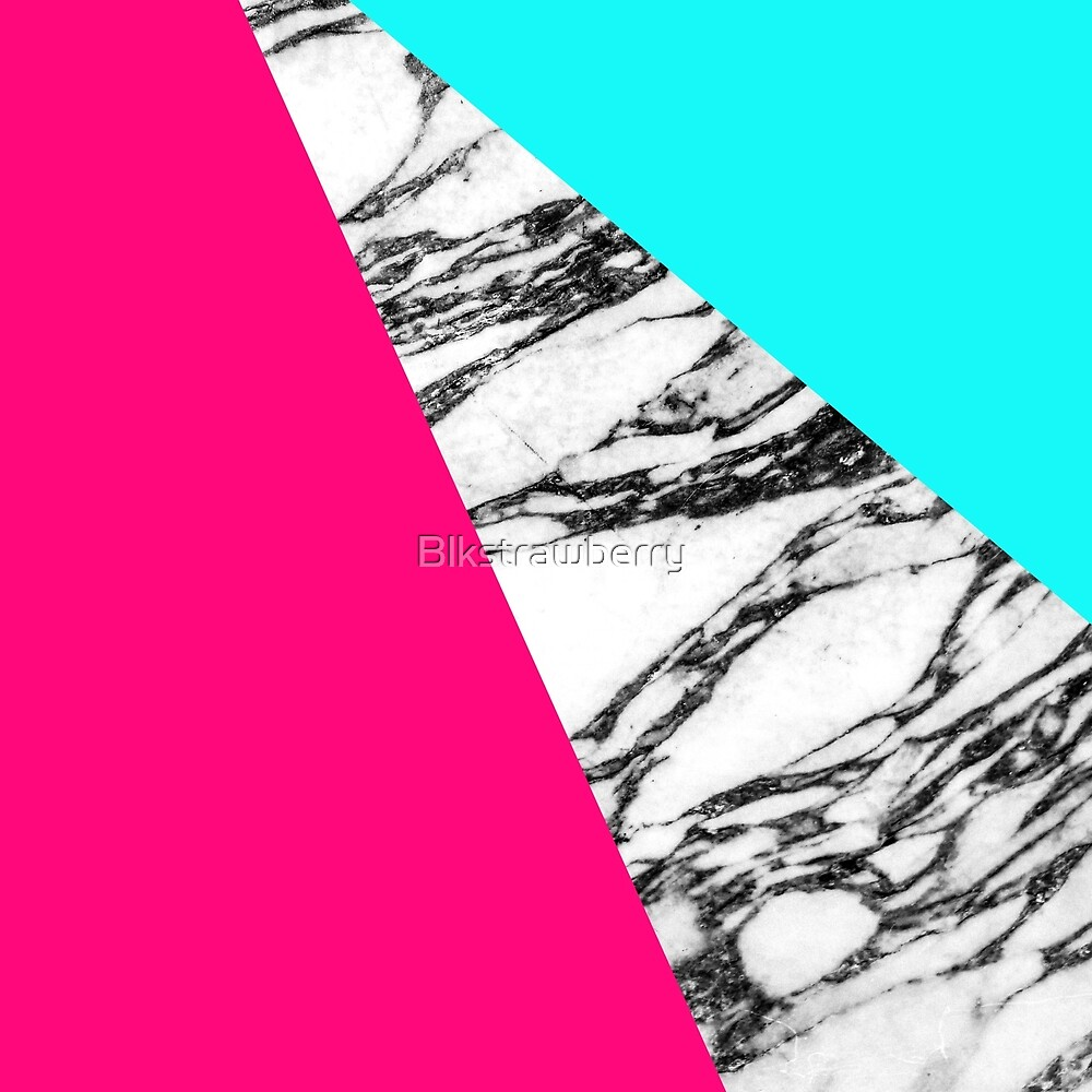 Modern Pink Teal Black White Marble Geometric Tricut by Blkstrawberry