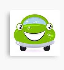 Car wash - happy green cartoon automobile Canvas Print