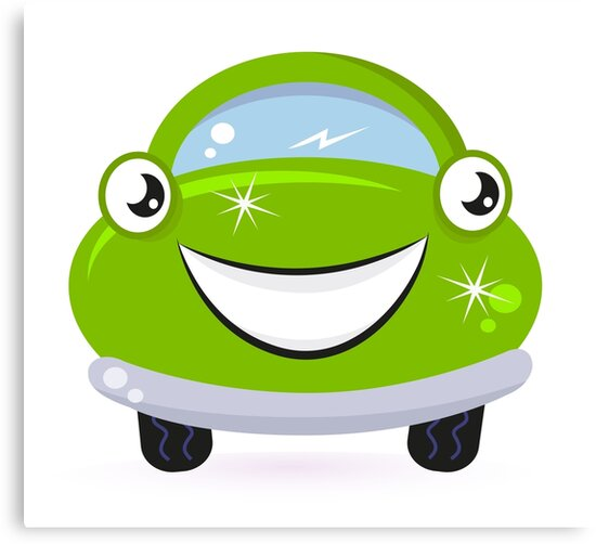 Car wash - happy green cartoon automobile by Bee and Glow Illustrations Shop